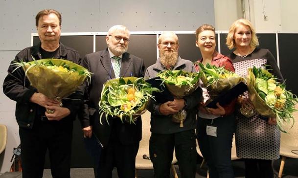 Kuvassa Jake Nyman (vas.), Seppo Hentilä, Pertti Koskimies, Katleena Kortesuo ja Satu Kaski.